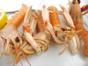 les langoustines à la base du plat