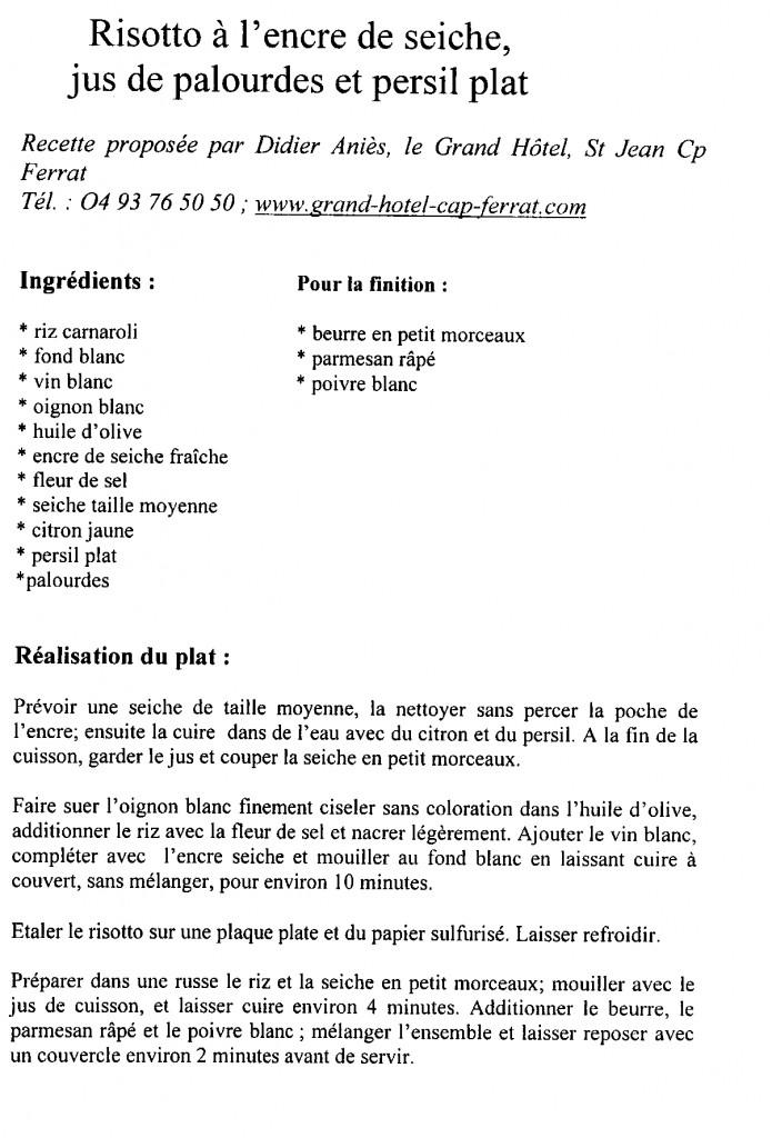 risotto encre de seiche jus de palourdes et persil plat